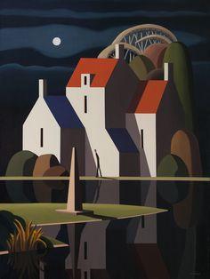Canadian Painters, Canadian Art, Art Optical, Illustrations And Posters, Digital Illustration, Landscape Paintings, Watercolor Art, Folk Art, Art Drawings