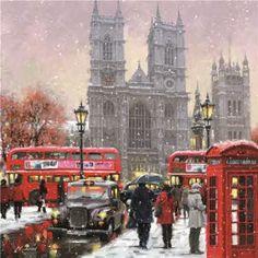 London Winter, London Christmas, Christmas Scenes, Modern Christmas, Old London, London Art, London Drawing, Charity Christmas Cards, London Painting