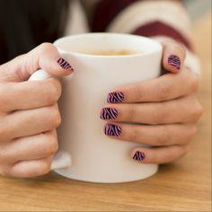 Glittered Pink Zebra Print Minx Nails by elenaind