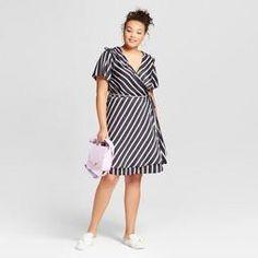 dbfb3074e78eb Women s Plus Size Striped Short Sleeve Wrap Dress - A New Day™ Black Trendy  Plus