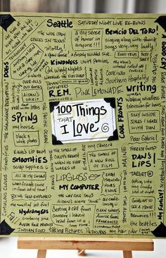 100 things that I Love. Great idea for students to put in their Writer's Notebook and use to help them find ideas for writing. Wonderful Art Journal idea, too! Citation Photo Insta, Filofax, Love Journal, Writers Notebook, Writer Workshop, 100 Days Of School, Middle School, Teaching Writing, High School Writing Prompts