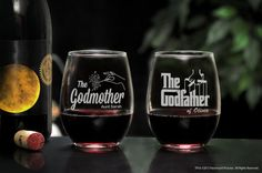 Godfather & Godmother Personalized Stemless Wine Glasses, Custom Godparent Wine Glass Set, Will you be my Godparents Gift, Baptism Favor
