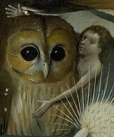 Hieronymus Bosch - The Garden of Earthly Delights Detail Of Owl & Boy Fine Art Canvas Print. High Resolution Giclee Art Print on Real, High Quality Woven Canvas. Hieronymus Bosch, Jan Van Eyck, Renaissance, Garden Of Earthly Delights, Dutch Painters, Vanitas, Owl Art, Medieval Art, Surreal Art
