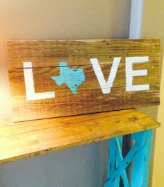 LOVE Rustic Pallet Wood Sign with state Good rustic art for DIY or not too much $ to buy