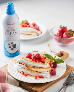 A berry delicious treat for a nice summer day☀️These scrumptious strawberry crepes are topped with Gay Lea Light Whipped Cream. You can never go wrong with strawberries and whipped cream! 🍓 Strawberry Crepes, Whipped Cream, Strawberries, Yummy Treats, Gay, Favorite Recipes, Nice, Breakfast, Ethnic Recipes