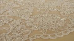Lace fabric white, Bead lace bridal Fabric, Gorgeous white Alencon Lace Fabric, Wedding lace Article: BK61197CB Width: 140 cm (55.1 in), listed for