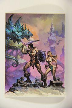 L010259 Boris Vallejo 1991 Card / Two-Headed Beast - 1984 - Card #62 / ARTWORK