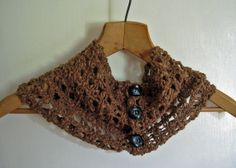 #crochet #convertible #cowl #collar #neckwarmer #scarf #natural #cotton #brown #handmade #thecraftstar $25.00
