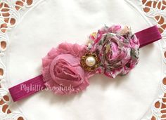 Rose Pink Floral Baby Headband by MylittleshopFinds on Etsy