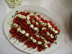 Tomato and Mozzarella Skewers with Basil Oil