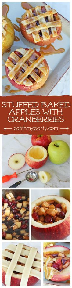 Stuffed apples with cranberries are like delicious mini apple pies covered in caramel, and would work so well as part of your rustic Thanksgiving desserts! | CatchMyParty.com