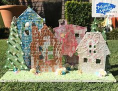 Wonderful World of Crafting : Houses in a row for Mixed Media Supplies