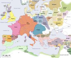 Historical map of Europe in the year 1200 AD