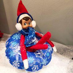 Elf On The Shelf. Snow Fun. Snow Day. Snow.  Sleigh Riding. Christmas Fun.  Christmas Tradition.  Christmas. Tradition.  Imagine.  Pretend.