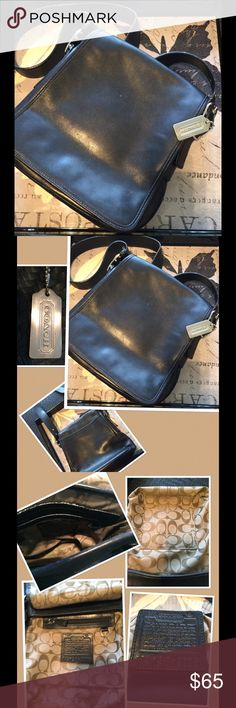 "EUC COACH Shoulder Bag EUC Authentic COACH Black Leather Shoulder Bag. Silver hardware. 46"" adjustable strap. Signature C's lining with 1 open slip compartment & 1 zipper compartment. Very light ink pen mark on inside & very unnoticeable scuff mark on front flap & bottom. Coach Bags Shoulder Bags"