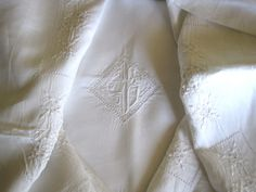 Antique French Metis Linen Sheet With by FatiguedFrenchFinds