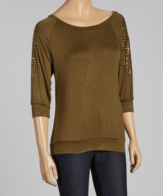 Love this Olive & Gold Studded Three-Quarter Sleeve Top by Destiny Made in the USA on #zulily! #zulilyfinds
