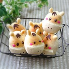 horse buns at first I thought these were egg Pokemon Japanese Food Art, Japanese Sweets, Cute Food, Good Food, Yummy Food, Pain Surprise, Do It Yourself Food, Kawaii Dessert, Bread Art