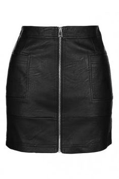 Exude tough-girl vibes in this black PU mini skirt featuring zip fastening and pocket detailing. Wear with a tucked in tee and leather jacket for an extra dose of edge. Faux Leather Skirt, Must Have Items, New Product, Personal Style, Topshop, Mini Skirts, Rock, Zip, Gift List