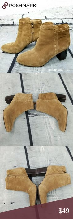 Via Spiga Basil Suede Tan Heeled Boots Booties 6 Via Spiga Basil Suede Tan Heeled Boots Booties size 6 in excellent used condition. Very little wear. Side zipper. Cute booties!  Please let me know if you have any questions. Happy Poshing! Via Spiga Shoes Ankle Boots & Booties