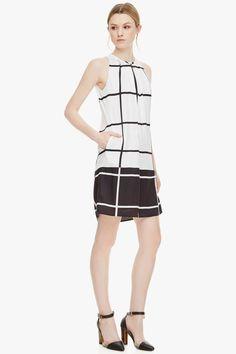 Vestido recto de raso con escote halter - Vestidos | Adolfo Dominguez shop online