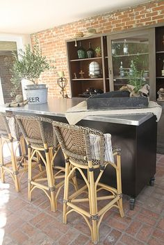 outdoor bar made out of a dresser!   great top & a mini fridge in it - maybe