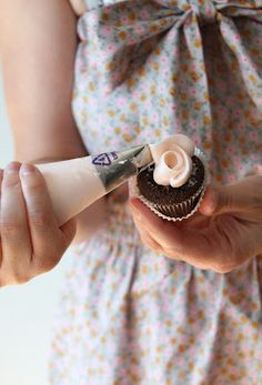 How to pipe a rose on a mini cupcake.