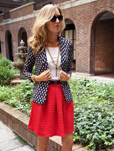 Love the idea and the colors I would just choose a different fabric skirt and the blazer would be a polka dot or just black all over style.