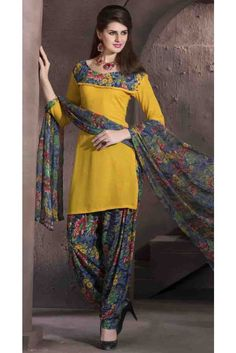 Extraordinary Yellow Crepe Print Work Patiala Salwar Suit