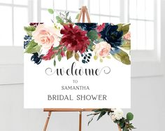 Wonderful Screen Bridal Shower Decorations burgundy Tips Any bridal shower room is an exciting occasion with the bride's friends along with family to collect intended . Bridal Shower Welcome Sign, Bridal Shower Signs, Bridal Shower Favors, Bridal Shower Invitations, Navy Bridal Shower, Blush Bridal Showers, Wedding Shower Decorations, Bridal Shower Decorations, Navy And Burgundy Wedding