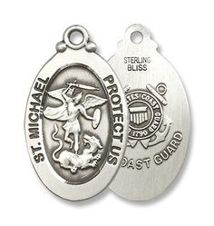 "Sterling Silver St. Michael US Coast Guard Medal Pendant Military Armed Forces with 24"" Stainless Chain in Gift Box BM001 http://www.amazon.com/dp/B003AKGKB0/ref=cm_sw_r_pi_dp_hQB-vb01YP9H9"