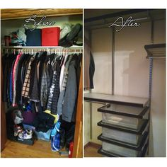 "How do you store over 50 jackets and coats in a wisconsin coat closet? Get an elfa closet installed from The Container Store! This photo was taken just after the closet was installed, so I'll post a real ""after"" photo soon."