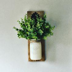 Hanging Mason Jar ( Greenery Included), Mason jar Sconce, Rustic Wall Decor