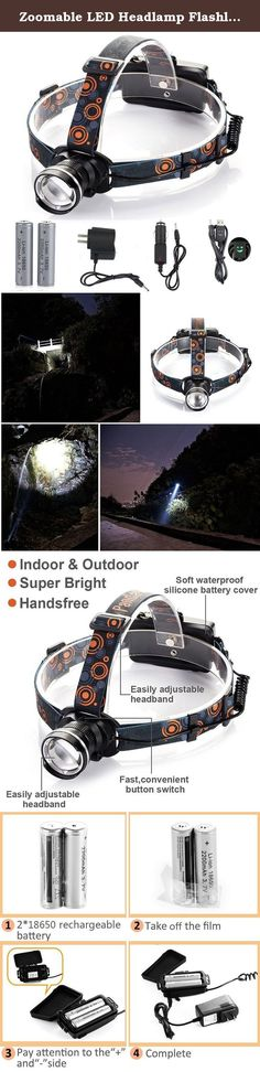 Zoomable LED Headlamp Flashlight, Ultra Bright 3 Modes LED Headlight Work Light for Camping, Hunting, Fishing, Reading, with 2x18650 Rechargeable Batteries+ Wall Charger+Car Charger+USB Cable. Parallel Battery Design 2 Rechargeable 18650 parallel design, ONE battery also can work. Great gift for friends/family to make tasks that much easier The headlamp is Zoomable, Waterproof, Rechargeable, Super Bright , makes it a great gift for your friends and family. Red Light and Lightweight Design...