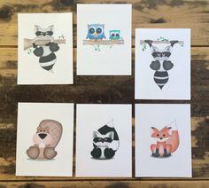 Ships free! Boys' Woodland animals nursery wall art prints, baby boy woodland nursery, raccoon owl fox nursery, modern woodland kids room de - pinned by pin4etsy.com