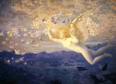 'ON THE WINGS OF THE MORNING' EDWARD ROBERT HUGHES