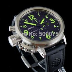 Parnis Big Face 50mm black dial green hands and marks stainless steel case