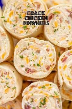 Crack Chicken Pinwheels - I am ADDICTED to these sandwiches! Cream cheese, cheddar, bacon, ranch and chicken wrapped in a tortilla. So simple to make with rotisserie chicken and precooked bacon. Can make ahead of time and refrigerate until ready to eat. Finger Food Appetizers, Appetizers For Party, Chicken Appetizers, Finger Food Recipes, Chicken Wrap Recipes, Food For Parties, Recipes For Canned Chicken, Rotisserie Chicken Meals, Sandwich Appetizers