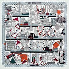 Silk twill scarf LES TROPHEES. #Hermes #Silk #Grey