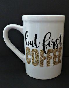 Tutorial: Glitter Heat Transfer Vinyl Dishwasher Safe Coffee Mug by My Paper Craze for Silhouette School Coffee Mug Quotes, Cute Coffee Mugs, Coffee Tumbler, Cute Mugs, Coffee Humor, Funny Mugs, Coffee Love, Coffee Cups, Painted Coffee Mugs
