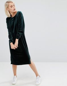 Image 1 of ASOS Velvet Long Sleeve Column Dress