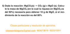 Ejercicio 5. Tema: Rendimiento (reacciones químicas)