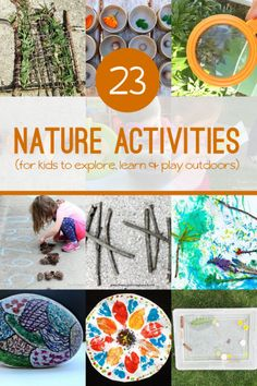 23 Nature Activities for Kids to Create, Explore & Learn These nature activities are ways to put the oomph in getting outside! Explore, find new things in nature, get creative in how you use it and just have fun! Nature Activities, Outdoor Activities For Kids, Summer Activities, Learning Activities, Preschool Activities, Kids Learning, Crafts For Kids, Outdoor Learning, Creative Activities For Kids