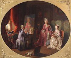 Louis Francois Herisson Antique Oil Painting French Salon Interior Genre Figures Genre, Worlds Largest, Painting, Oil, Antiques, Modern, Ebay, Living Room, Antiquities