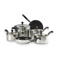 Stainless Steel Cookware Set 10 Piece Non Stick Cooking Pans Skillets Pots Lids #Farberware