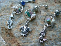 CHOOSE ONE beach dreamcatcher belly ring seahorse or mermaid or sea turtle seashell in gypsy hippie morrocan boho and hipster style on Etsy, $19.69 CAD
