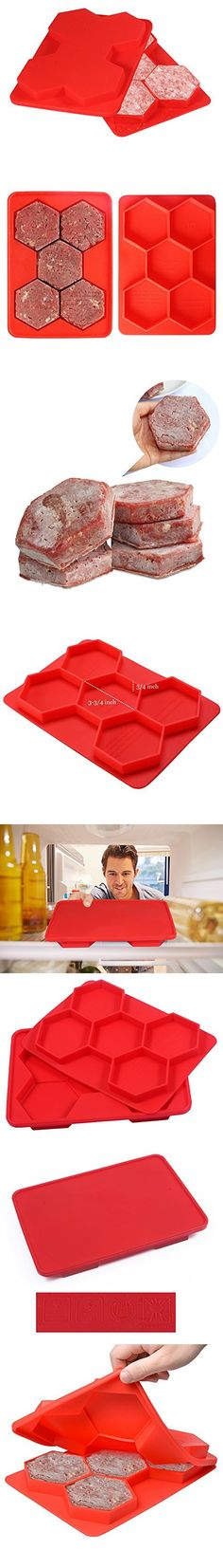 Small Size, Red Non Stick Silicone Frozen Hamburger Maker Mould 7-in-1 Burger Press Cutlets Mould Maker Kitchen Tools for Hamburger Patty Maker Breakfast Sandwich Maker