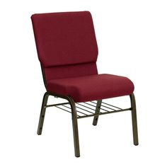 Flash Furniture HERCULES Series 18.5''W Church Chair in Burgundy Fabric with Book Rack - Gold Vein Frame
