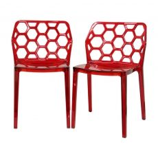 Red Honeycomb Chair, Set of 2 made by Retro-Luxe.