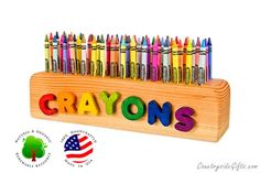 Crayon Holder  Wooden Crayon Holder  by countrysidegiftsllc